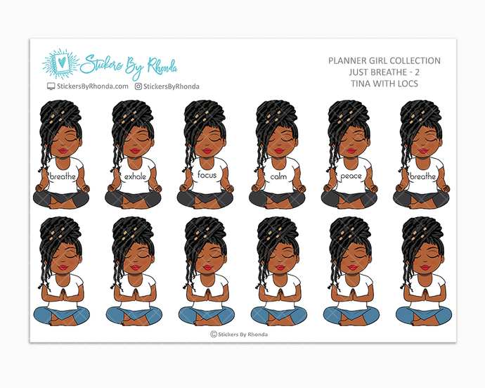 Jackie With Locs - Just Breathe 2 - Planner Stickers