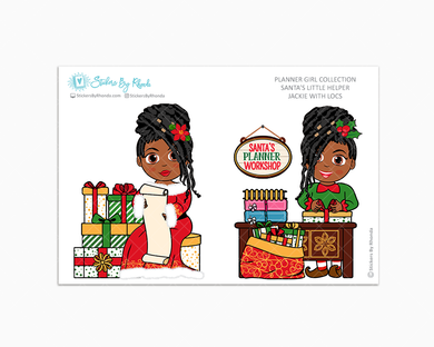 Jackie With Locs - Santa's Little Helper - Planner Girl Collection - Limited Edition - Christmas Stickers