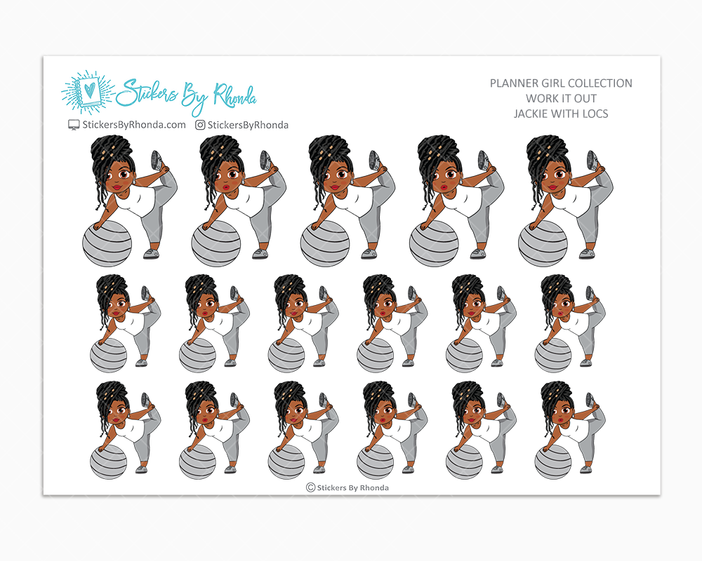 Jackie With Locs - Work It Out - Fitness Planner Stickers - Exercise Planner Stickers