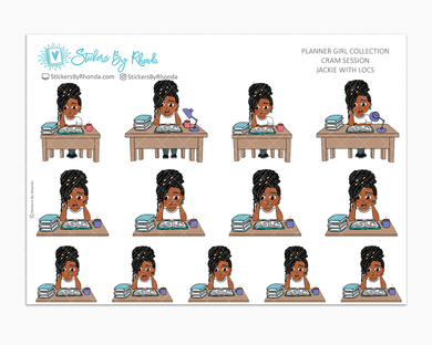 Jackie With Locs - Cram Session - Studying Planner Stickers - School Planner Stickers