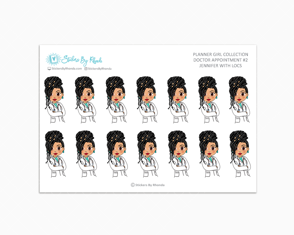 Jennifer With Locs - Doctor Appointment #2 - Medical Planner Stickers