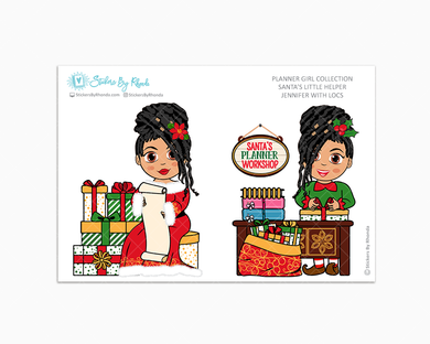 Jennifer With Locs - Santa's Little Helper - Planner Girl Collection - Limited Edition - Christmas Stickers