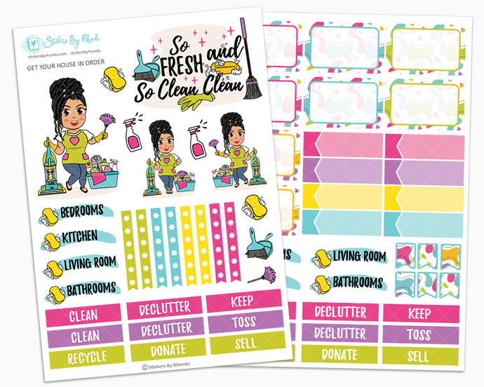 Jennifer with Locs - Get Your House In Order - Two Page Sticker Kit - Cleaning Stickers