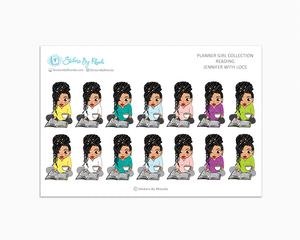 Jennifer With Locs - Reading Planner Stickers - Me Time Planner Stickers