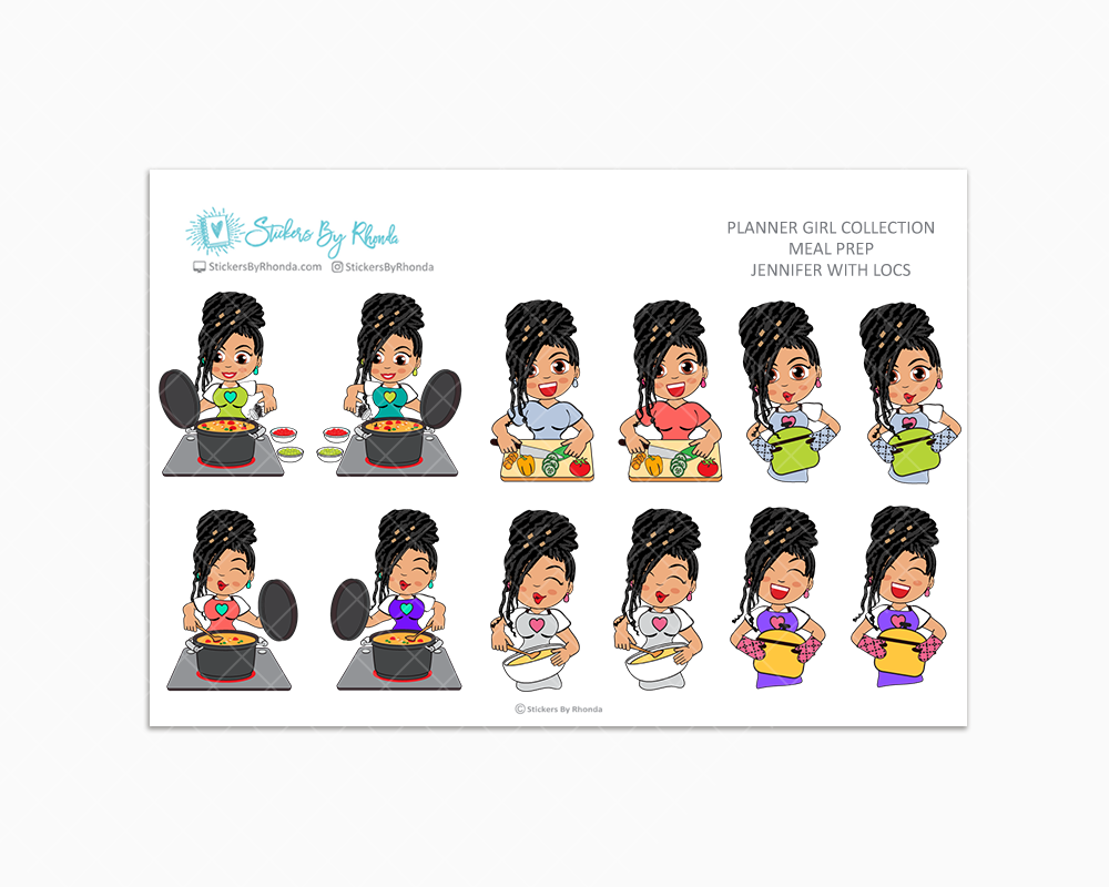 Jennifer With Locs - Meal Prep/Cooking Planner Stickers