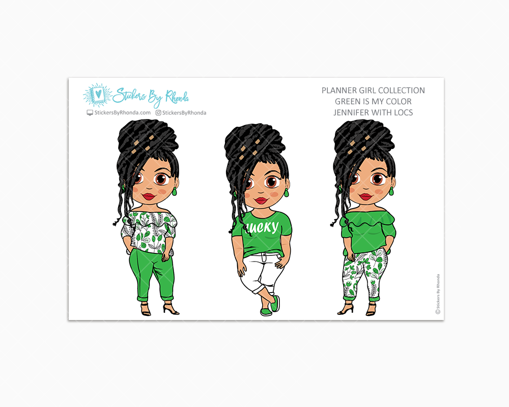 Jennifer With Locs - Green Is My Color - Limited Edition - Planner Stickers