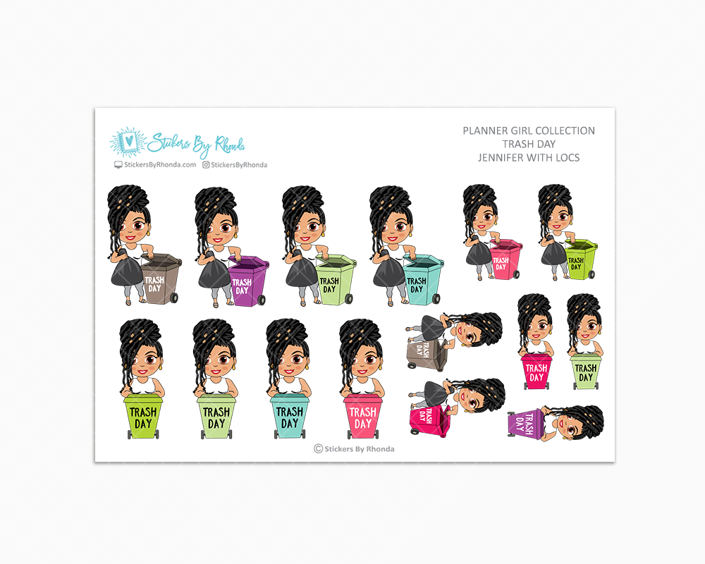 Jennifer With Locs - Trash Day  - Take Out The Trash - Planner Stickers