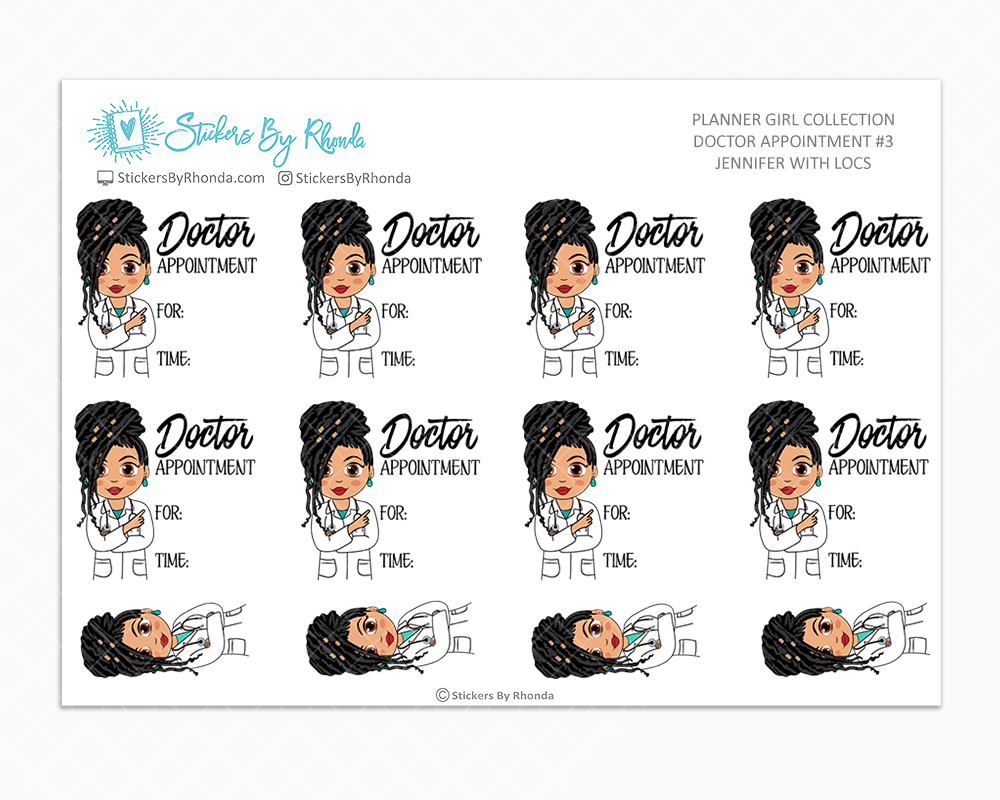 Jennifer With Locs - Doctor Appointment #3 - Medical Planner Stickers