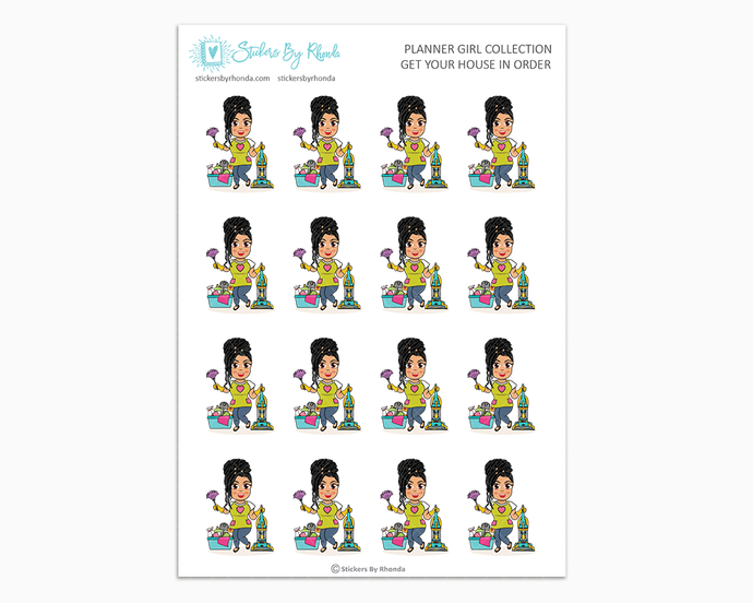 Jennifer With Locs - Get Your House In Order - Planner Girls Only - Cleaning Stickers
