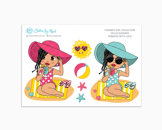 Jennifer With Locs - Hello Summer Glossy Stickers - Limited Edition - Planner Girl Collection - Planner Stickers