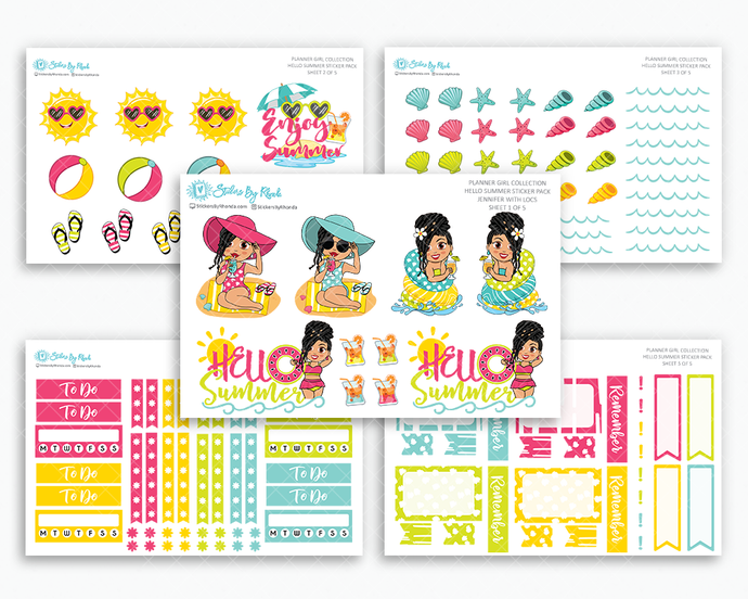 Jennifer With Locs - Hello Summer Matte Planner Stickers - Planner Girl Collection