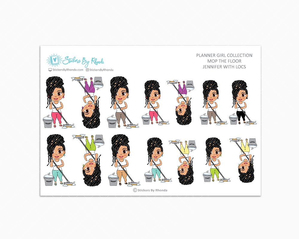 Jennifer With Locs - Mop The Floor - Cleaning Stickers - Planner Stickers