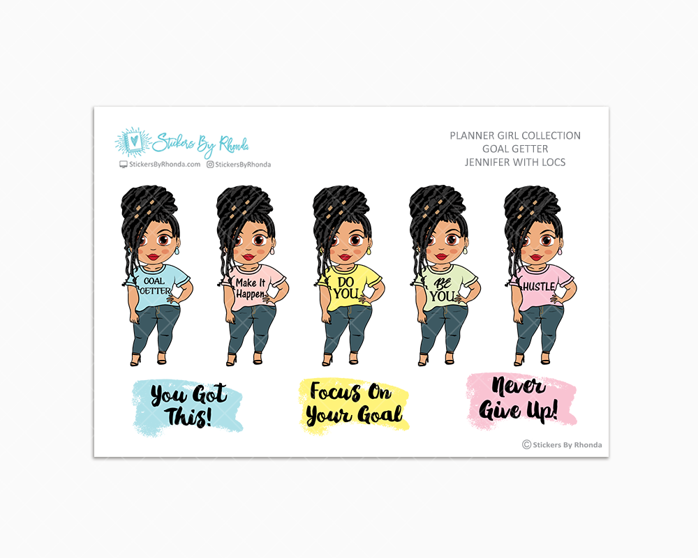 Jennifer With Locs - Goal Getter - Limited Edition - Planner Girl Stickers