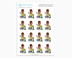 Mia With Locs - Get Your House In Order - Planner Girls Only - Cleaning Stickers