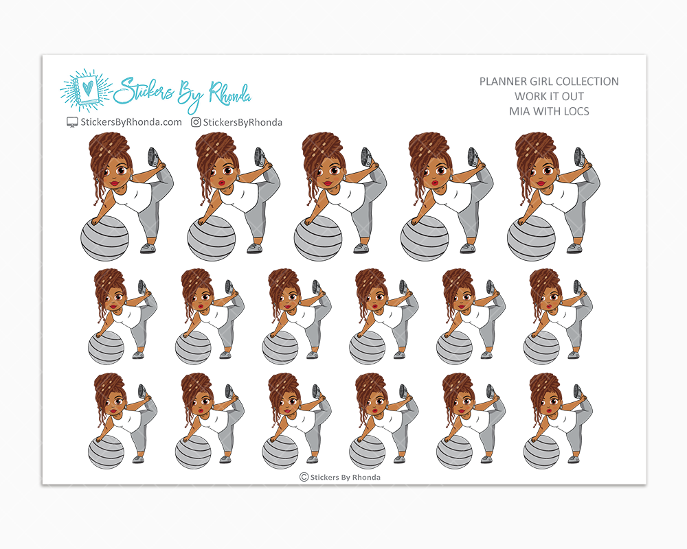 Mia With Locs - Work It Out - Fitness Planner Stickers - Exercise Planner Stickers