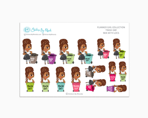 Mia With Locs - Trash Day  - Take Out The Trash - Planner Stickers