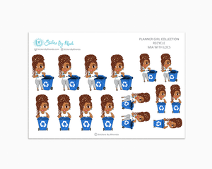Mia With Locs - Recycle - Planner Stickers