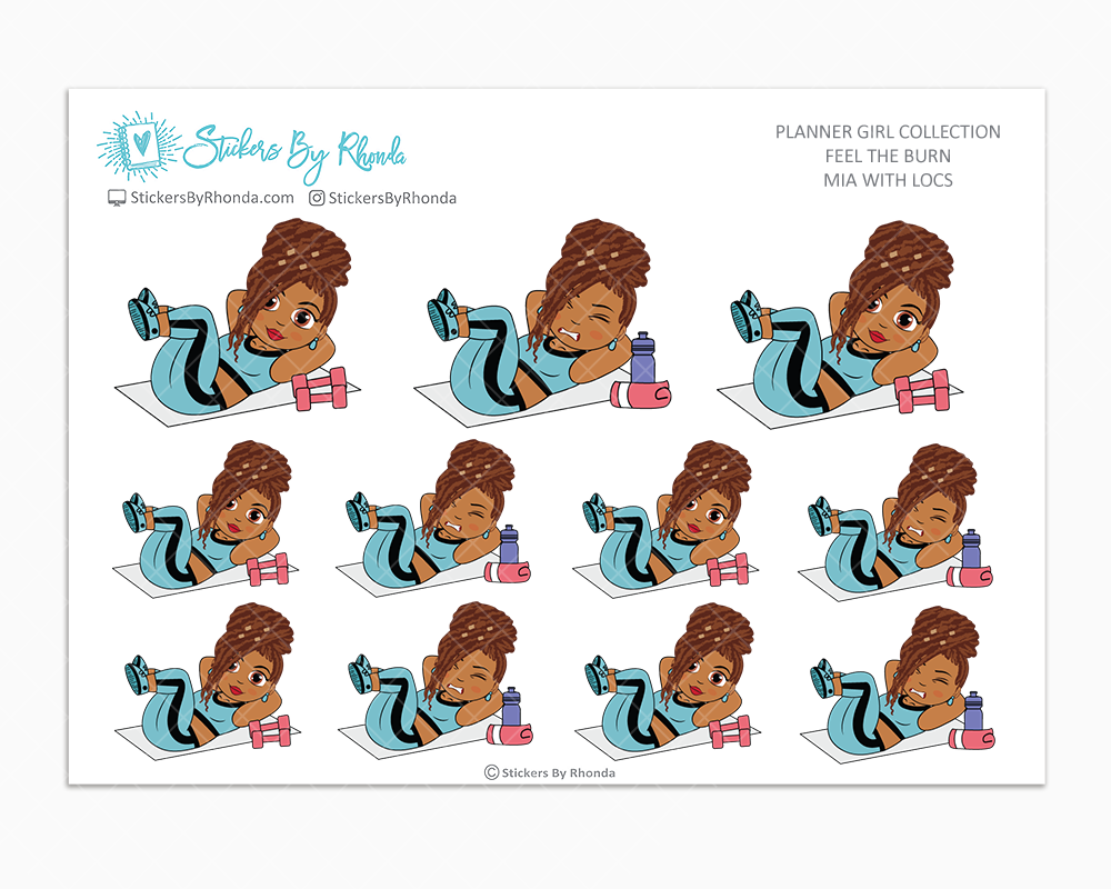 Mia With Locs - Feel The Burn - Fitness Planner Stickers - Exercise Planner Stickers