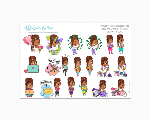 Mia With Locs - Variety Sticker Sheet - Planner Stickers - Planner Girl Collection