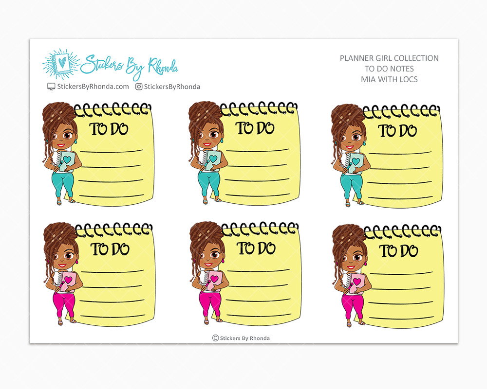 Mia With Locs - To Do Notes - Planner Stickers - Planner Girl Stickers