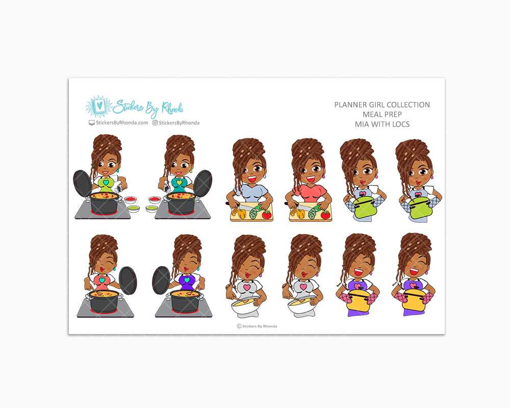 Mia With Locs - Meal Prep/Cooking Planner Stickers
