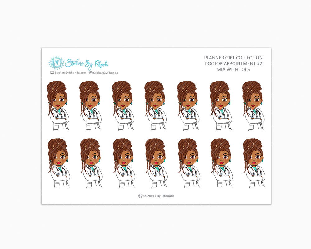 Mia With Locs - Doctor Appointment #2 - Medical Planner Stickers