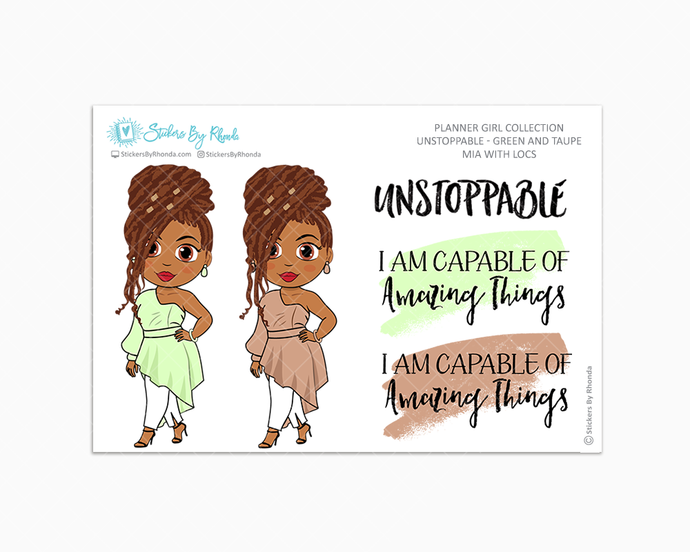Mia With Locs - Unstoppable - Green & Taupe - Limited Edition - Quote Stickers - Planner Girl Collection - Planner Stickers