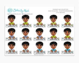 Little Michael With Locs - Homework Study  - Back To School Stickers - Boy Stickers