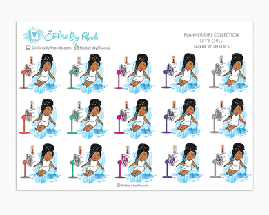 Tanya With Locs - Let's Chill - Planner Stickers