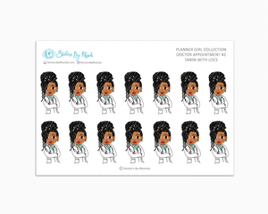 Tanya With Locs - Doctor Appointment #2 - Medical Planner Stickers