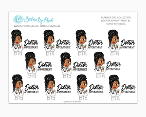 Tanya With Locs - Doctor Appointment #1 - Medical Planner Stickers