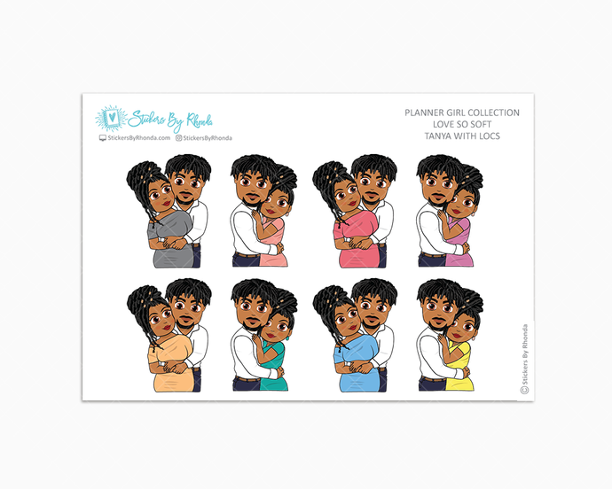 Tanya With Locs - Love So Soft - Planner Stickers