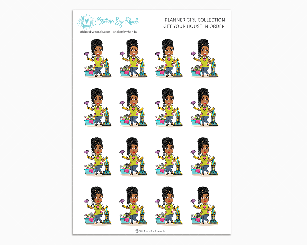 Tanya With Locs - Get Your House In Order - Planner Girls Only - Cleaning Stickers
