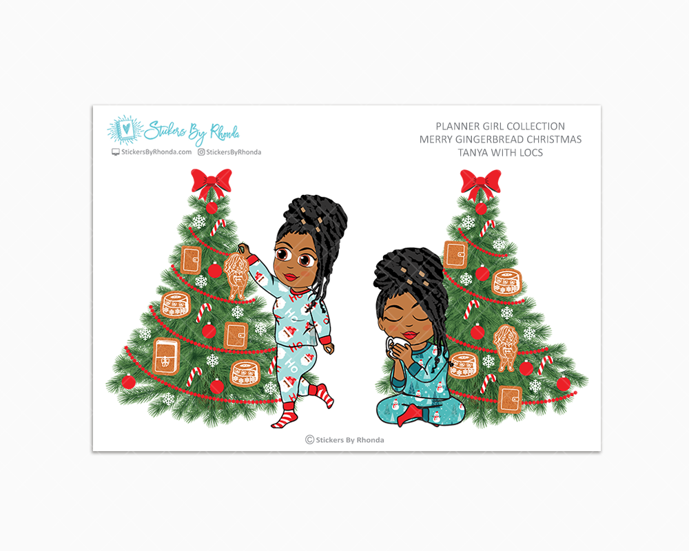 Tanya With Locs - Merry Gingerbread Christmas - Planner Girl Collection - Limited Edition - Christmas Stickers