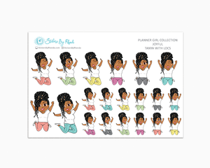 Tanya With Locs - Joyful Planner Stickers