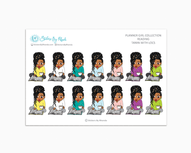 Tanya With Locs - Reading Planner Stickers - Me Time Planner Stickers