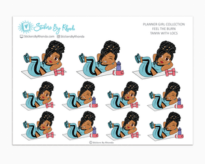 Tanya With Locs - Feel The Burn - Fitness Planner Stickers - Exercise Planner Stickers