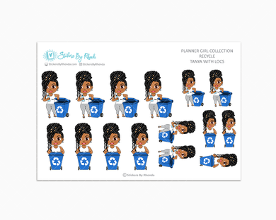 Tanya With Locs - Recycle - Planner Stickers
