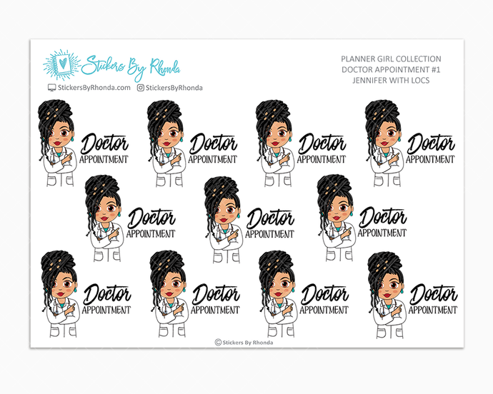 Jennifer With Locs - Doctor Appointment #1 - Medical Planner Stickers