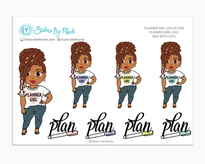 Mia With Locs - Planner Girl Love - Limited Edition - Planner Girl Stickers