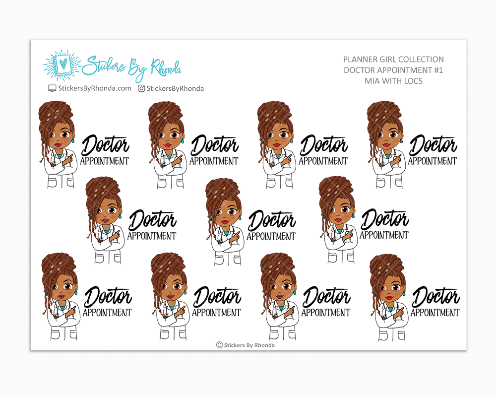 Mia With Locs - Doctor Appointment #1 - Medical Planner Stickers