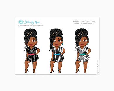 Jackie With Locs - Class & Confidence - Limited Edition - Planner Girl Collection - Planner Stickers