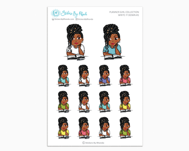 Jackie With Locs - Write It Down #1 - Planner Girl Collection - Planner Stickers
