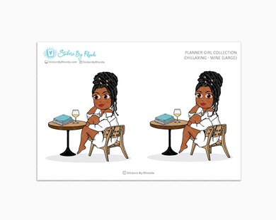 Jackie With Locs - Chillaxing - Wine (Large) - Limited Edition - Planner Girl Collection