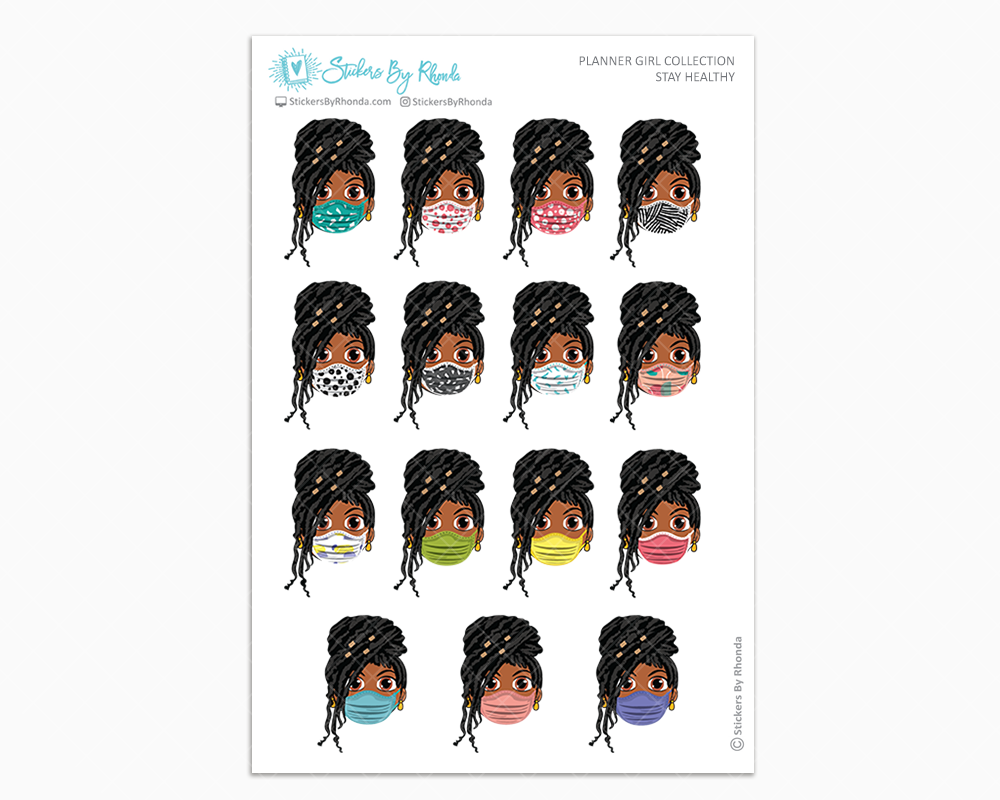 Jackie with Locs -  Stay Healthy - Planner Girl Stickers