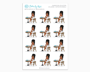 Jackie With Locs - Chillaxing - Coffee/Tea (Small) - Planner Girl Collection