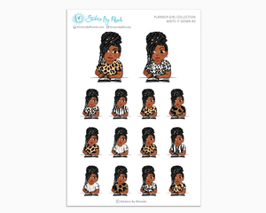 Jackie With Locs - Write It Down #3 - Planner Girl Collection - Planner Stickers