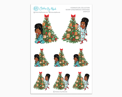 Jackie With Locs - Merry Gingerbread Christmas Sampler - Christmas Stickers - Holiday Stickers