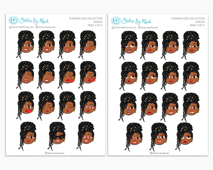 Jackie With Locs - Planner Girl Emojis - Emotion Stickers - Planner Girl Collection