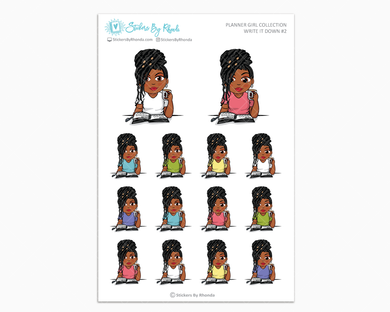 Jackie With Locs - Write It Down #2 - Planner Girl Collection - Planner Stickers